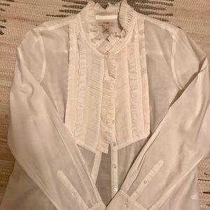 J. Crew White Tuxedo Shirt